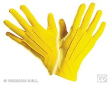 Pair of Adult Short Yellow Gloves - Fancy Dress Costume Accessory