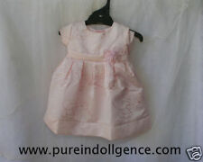 Newborn Dress - Handmade Pink Polyester Embroidered size 6-9mos- Short Sleeve