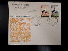 NIGER  97/98   PREMIER JOUR FDC      FAUNE ,GRUES ,COURONNES      1+2F      1960