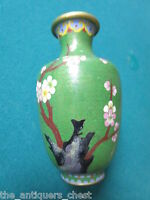 Antique Chinese Cloisonne vase, turquoise base/gold on the inside,cherry flowers