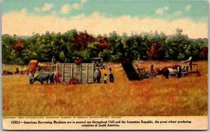 "1910 INTERNATIONAL HARVESTER Adv. Postcard ""CHILE American Harvesting Machines"""
