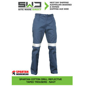 5x Spartan Cotton Drill Reflective Taped Trousers Work Pants - Navy
