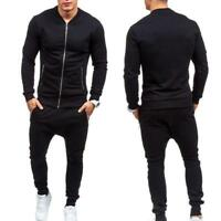 Casual Mens Tracksuit Jogging Sport Suit Sets Coat Trousers Outerwear#