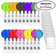 Porte Badge Enrouleur Roller Clip Rétractable Carte ID Visite Card Holder + Etui