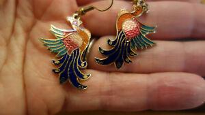 BIRD   Cloisonne enamel dangle earrings Vintage