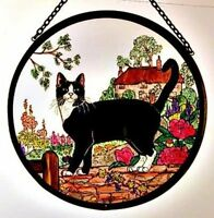 Decorative Winged Heart Hand Painted Stained Glass Roundel - Cottage Garden Cat