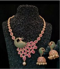 Indian Pakistan Bollywood American Diamond Peacock Jhumki Necklace Multi Party