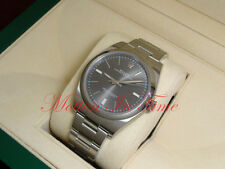 Rolex Oyster Perpetual Stainless Steel 39mm Dark Rhodium Dial Smooth Bzl 114300