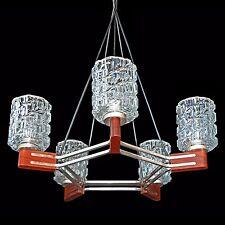 Vintage 60s Mid-Century Modern Danish Teak & Chrome Sputnik Ice Glass Chandelier