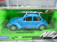 VW Volkswagen Käfer Beetle blau blue + Surfbrett Surfboard NEU Welly 1:24