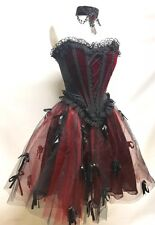 Gothic Steampunk 2 Pcs Victorian Layer Skirt & Red Velvet Boned Corset Size M/12