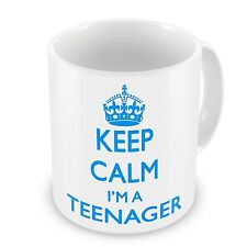 Keep Calm I'm a adolescente TAZA REGALO - Azul 313ml Taza de cerámica LBS4ALL