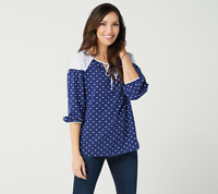 Isaac Mizrahi Live! Contrast Polka Dot Knit Peasant Top Royal Navy Color Size L