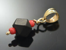 Autentic Azabache Pendant and Red Coral 14k Real Gold