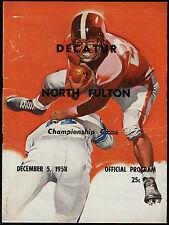 1958 DECATUR vs NORTH FULTON High Championship! Football Program w/ Coca Cola Ad