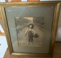 Rare Alfred S. Campbell Art-Relievo Deeply Embossed 1901 Framed Lithograph Boy