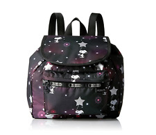New LeSportsac Small Edie Peanuts Snoopy in the Stars Black Pink Backpack Bag