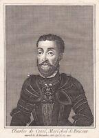 Portrait XVIIIe Charles Ier De Cossé Maréchal De Brissac Grand Maitre Artillerie