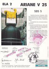 T90 Doc philatélique ESPACE ARIANE Vol 25 ELA 2 SBS 5 Numéroté KOUROU 8/9/88