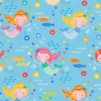 Fabric Baby Mermaid Girls on Blue Cotton by the 1/4 yard BIN
