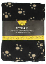 HOME EDITION PET BLANKET - BLACK BEIGE PAW PRINT - FREE POST