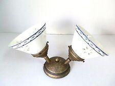 Applique lampada plafoniera ottone e Ceramica 2 luci decoro BLU