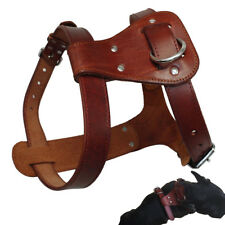 Thick Genuine Leather Pet Dog Harness for Dogs Small Medium Large Brown Adjust