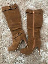 Knee High Suede Brown High Heel Boots Size 34Ladies Womens