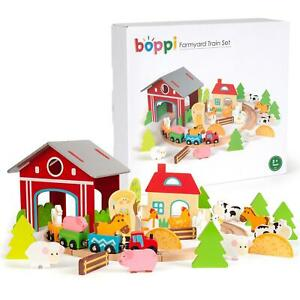 boppi 45pcs Farm Forest Wooden Kids Toy Train Set with Animals Trees Station New