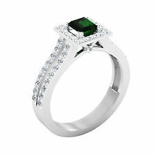 Natural 1.57 Ct Round Diamond Emerald Ring 14K White Gold Real Gemstone Rings 77