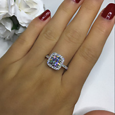 2.30Ct Round Cut Moissanite Halo Engagement Ring Solid 14K White Gold Finish