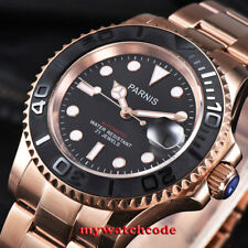41mm Parnis black dial Sapphire rose golden case miyota automatic mens watch 950