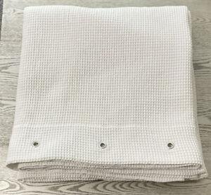"Pottery Barn Off-White Waffle Weave Shower Curtain w/ Grommets 66x72"" Turkey"