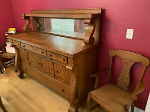 Antique Late 19th Century Tiger Stripe Dinning Table Six Chairs and Buffet