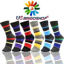 6 Pairs Ydst6 New Cotton Men Striped Style Dress Socks Size 10-13 Multi Color