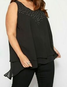 LADIES DIAMANTE DOUBLE LAYER CHIFFON TOP BLACK OR RED NEW (ref 690) SALE
