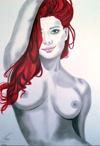 Aktzeichnung  #765 Akt,pin up,nude drawing, erotic,nu dessin, original Zeichnung
