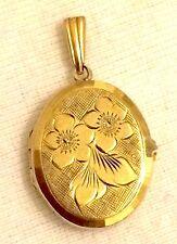 Vintage 1964 Georg Jensen 9ct oro floral Medallón