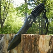 "10"" TACTICAL HUNTING Black Survival FIXED BLADE KNIFE Army Paracord + SHEATH New"