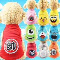 Cartoon Small Dog Clothes Pet Puppy Cute Vest Dog Cat Apparel 9 Colors XS-XXL