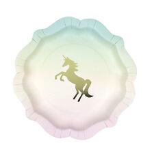 12 X Unicorno Di Carta Festa Piatti Con Oro Metallizzato Unicorno Festa Stoviglie Decorazioni