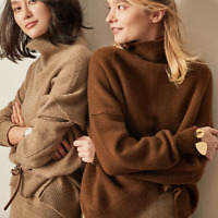 Women Cashmere Pullover Sweater Oversize Turtleneck Thick Warm Top Coat Jacket