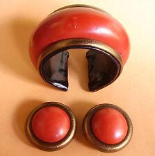 1960 /  SUPERBE BRACELET EN CUIR BICOLORE ET SES CLIPS