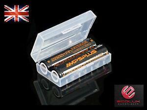 2x 16650 Battery 3.7V Li-ion 2000mAh IMR 6A Flat Genuine Ampsplus UK + case