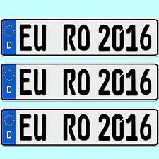 3 Stück EU Kfz Kennzeichen Nummernschilder Autoschilder mit Wunschtext