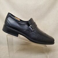 ECCO Black Leather Apron Toe Comfort Loafers Dress Shoes Mens Size 47 EUR