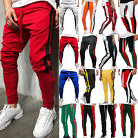 Men Skinny Casual Sports Jogging Tracksuit Bottom Jogger Gym Sweat Pants Trouser