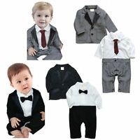 Baby Boy Wedding Christening Dressy Party Tuxedo Suit Clothes Outfit+Jacket Set
