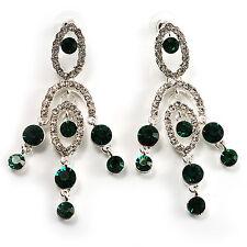 Stunning Emerald Green Diamante Chandelier Earrings (Silver Tone)