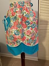 Vintage HALF APRON Sheer Reversible pink/blue Floral Heart Pocket